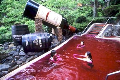 Yunessun spa swim in coffee tea wine or sake neatorama for Piscine wine