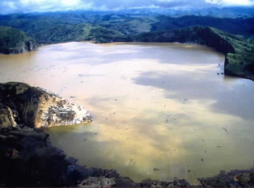 Lake Nyos, in Cameroon, shortly after the 1986 killer CO2 cloud.  Image from Neat-o-rama.