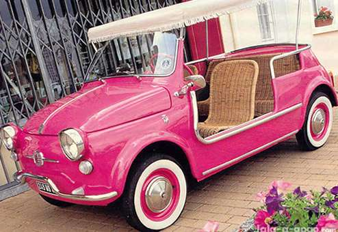 & Cute Fiat Micro Car with Canopy and Wicker Seats! - Neatorama