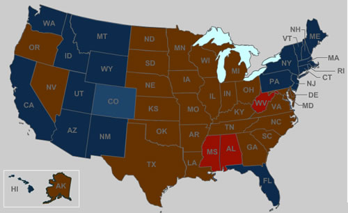 Obesity Us Map.The United States Of Fat A Map Of Obesity In The Usa Neatorama