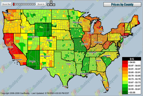 Gas Prices Map of the United States - Neatorama