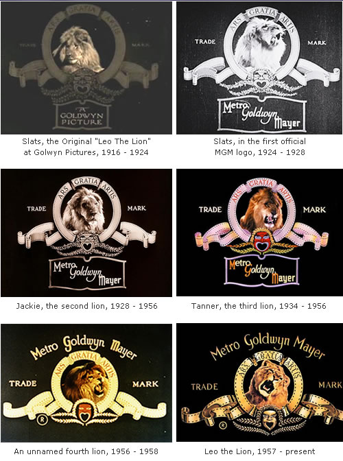 logos da metro goldwin mayer ao longo do tempo