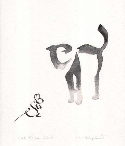 Cat And Mouse Calligraphy Art By Margaret Shepherd Neatorama