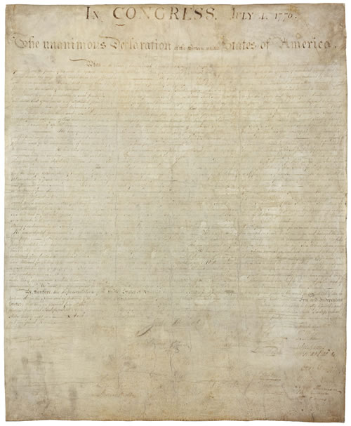 what is on the bottom left corner of the declaration of independence