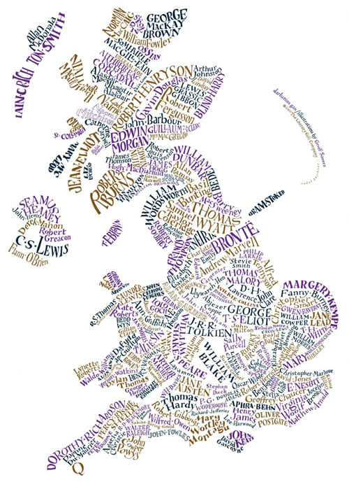 Literary Maps Of USA And Britain Neatorama - Map Of The Us And Britain
