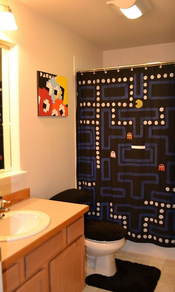 pac man shower curtain neatorama