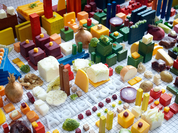 Cityscape art made out of food