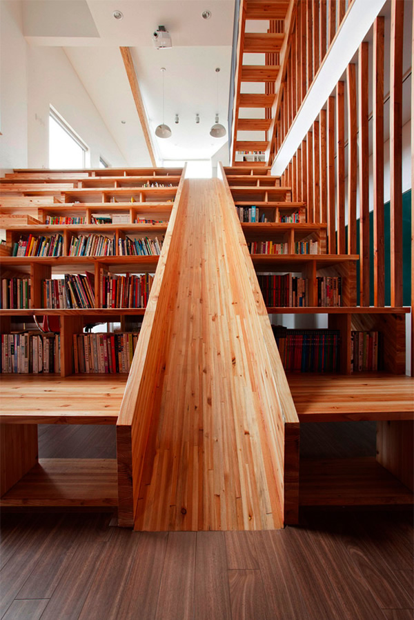 Library, Room Divider, Stairs, Home Theater And Slide All In One   Neatorama
