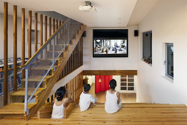 library room divider stairs home theater and slide all