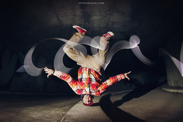 B-boying with light painting
