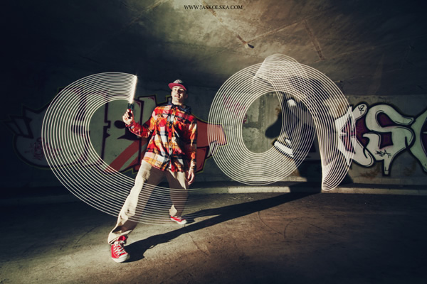 Light painting and breakdancing