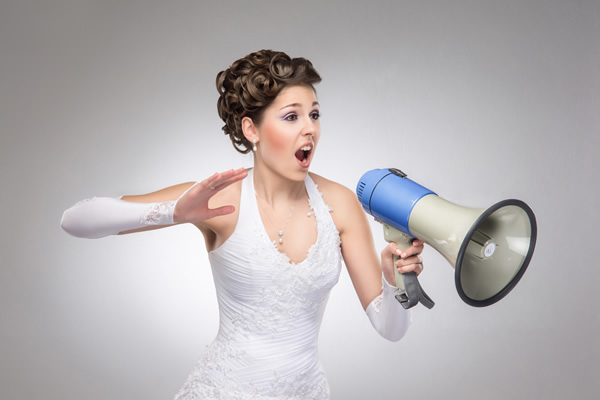 Bride with megaphone