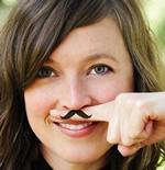 Fingerstache, mustache-shaped temporary tattoo