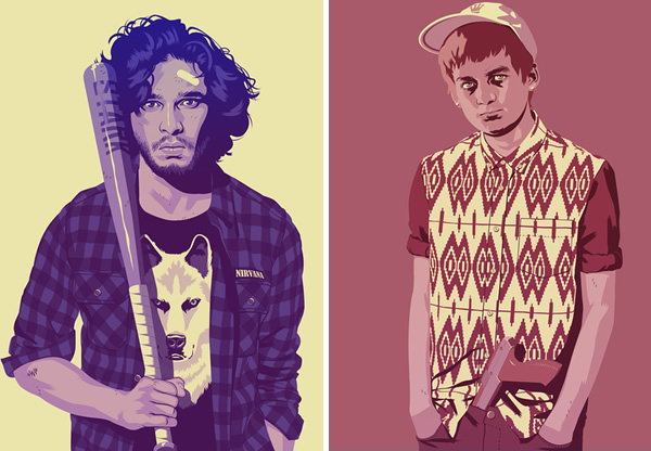Jon Snow and Joffrey - Game of Thrones as 80s characters