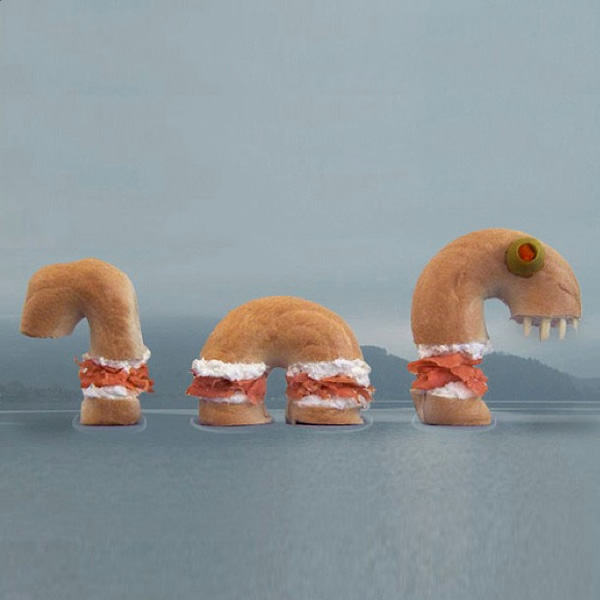Lox-Ness Monster: Bagel and lox shaped like the Loch Ness Monster