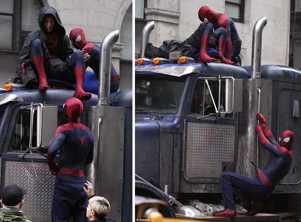 Multiple Spider-Man in the set of The Amazing Spider-Man 2
