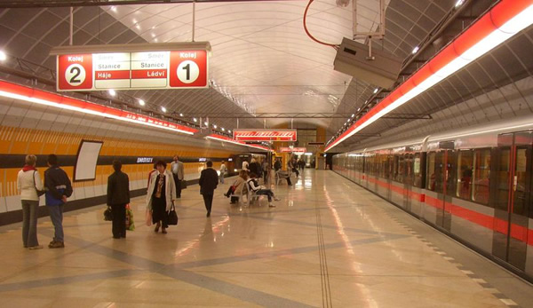 Prague metro subway station