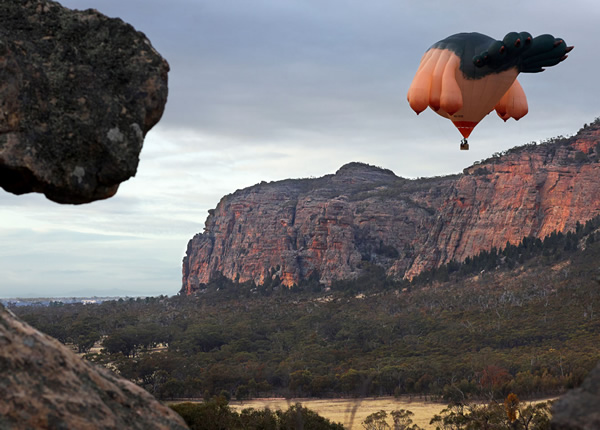 Skywhale hot air balloon flying over a canyon