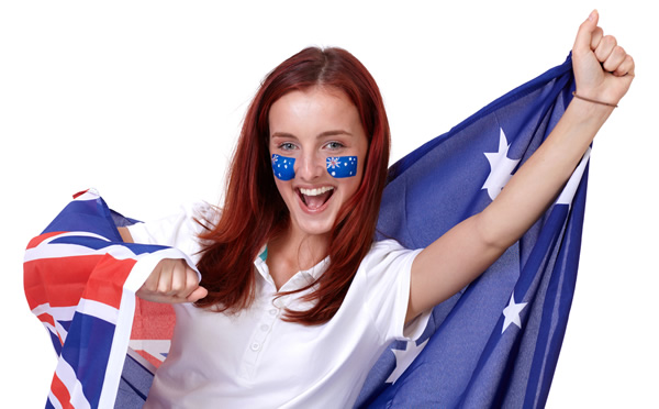 Woman with Australian flag