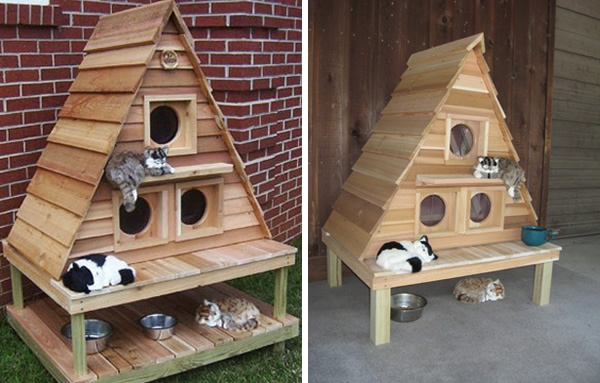 Outdoor cat house? This Cat Cottage Triplex by Blythe Wood Works is \