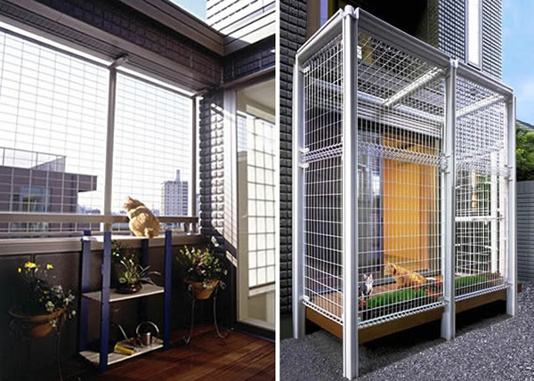 Cat fence and deck let cats enjoy the fresh air in safety