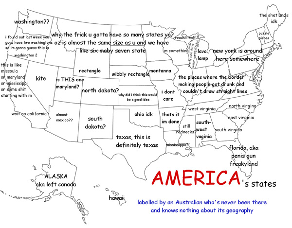 US States As Labeled By An Australian Who Knew Nothing Of Its - Us labeled state map