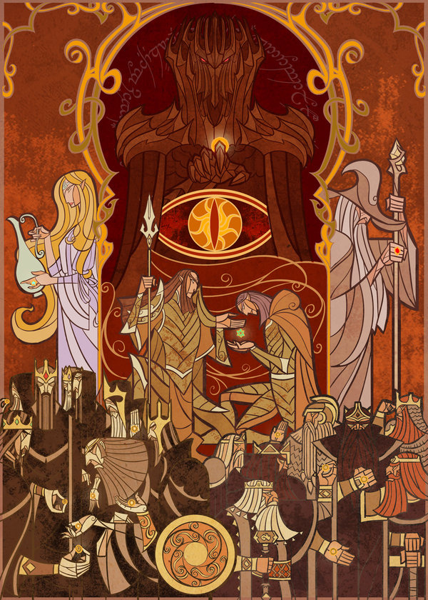 c56d54c601e Lord of the Rings Stained Glass-Style Art by Jian Guo - Neatorama