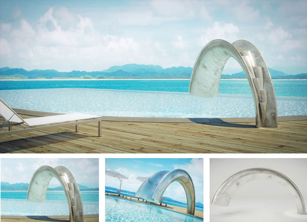 this swimming pool slide sure knows how to make a splash the shoot pool slide designed by uk design company splinterworks looks like an impossible arch