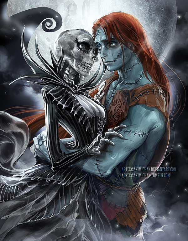Gender swapped Jack and Sally (The Nightmare Before Christmas)