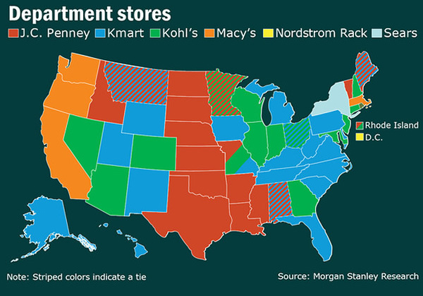 The shopping maps of the united states neatorama the shopping maps of the united states gumiabroncs Gallery