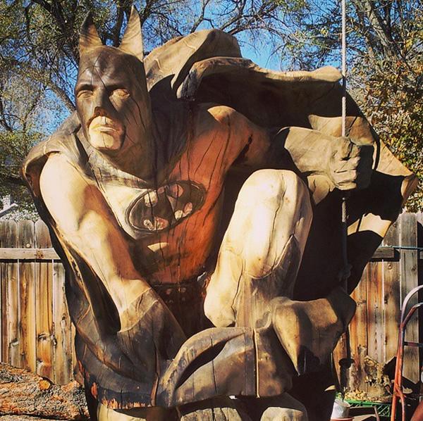 The bark knight wood carving of batman neatorama