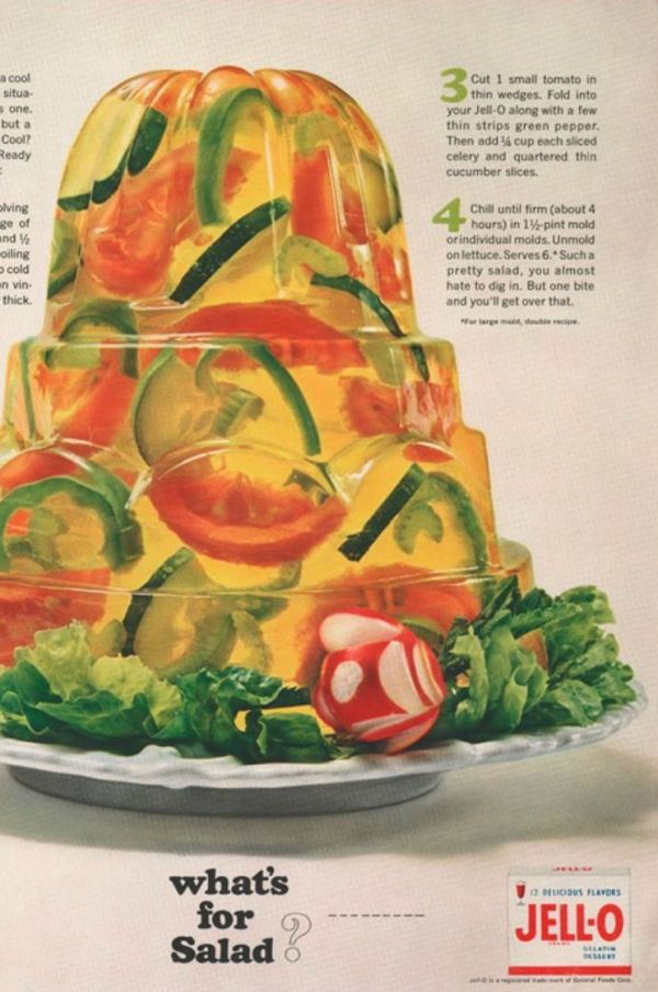 Jell o salad the rise and fall of an american icon neatorama there was a time when womens magazines were filled with jell o recipes enough that you could serve breakfast lunch dinner and dessert all containing forumfinder Gallery