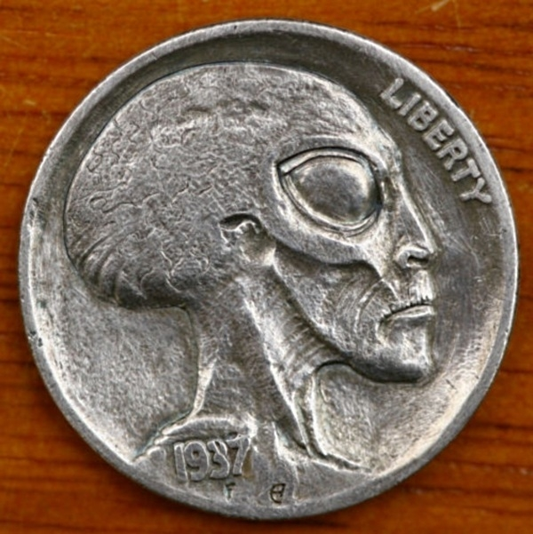 alien head on a hobo nickel