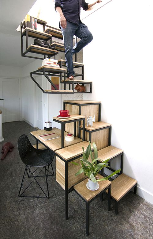 Beau Stairs Shelves A Cupboard And Desk All In One Neatorama