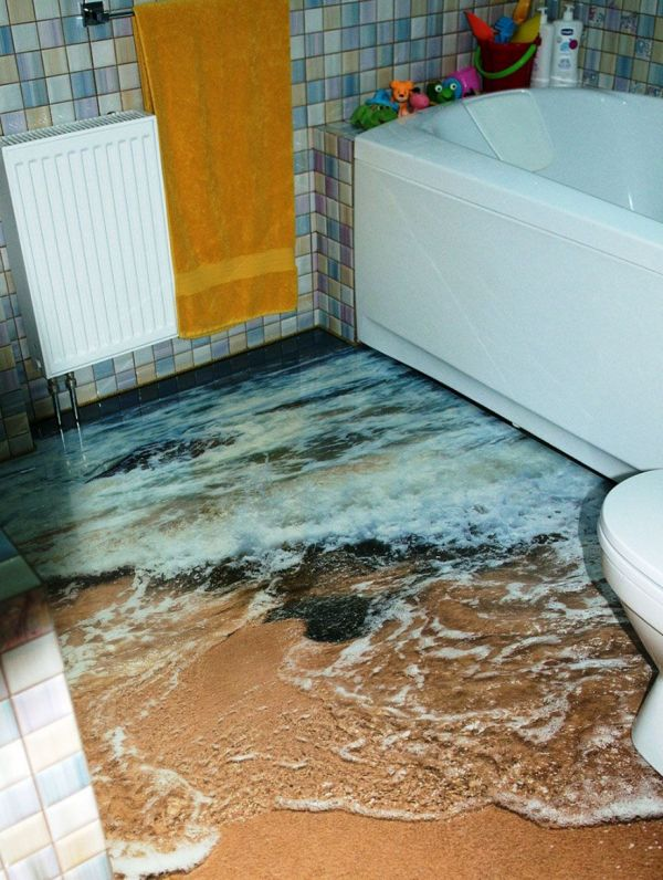 3D Liquid Floors Make Your Rooms Look Like Bodies of Water
