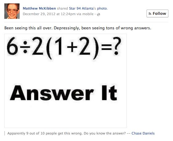 What Is The Answer To That Stupid Math Problem On Facebook