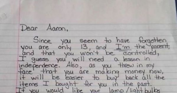 Mom Writes Brilliant Letter To Entitled Teenager Informing Him He