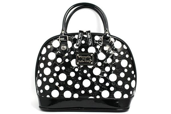 55e46885fa64 Hello Kitty Black and White Dot Patent Leather Embossed Handbag - Neatorama