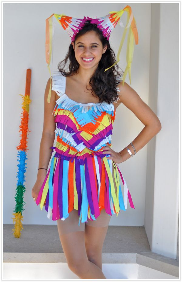 25 easy diy halloween costumes you can make last minute neatorama if you dont have any time to get tulle but have crepe or tissue paper available then consider making a pinata costume glue strips of the paper to a body solutioingenieria Image collections