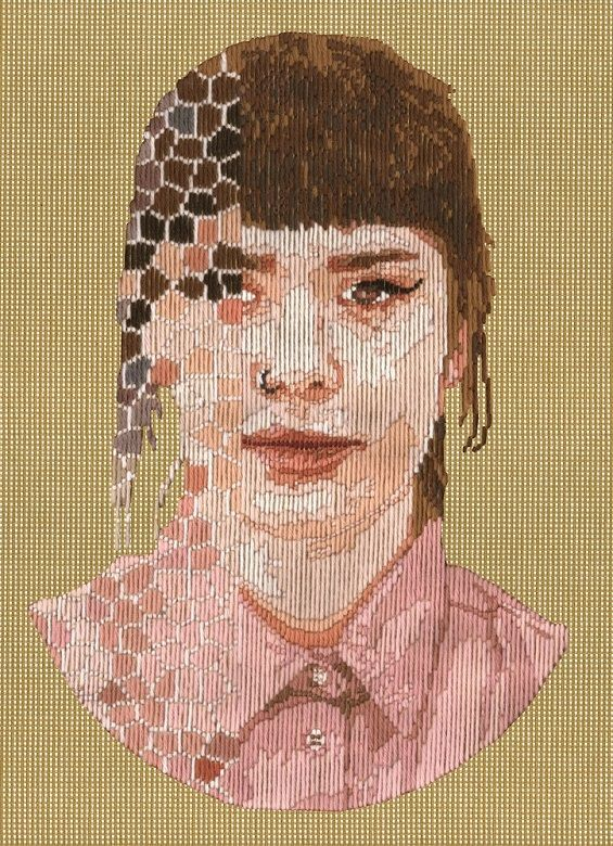 Hand Stitched Portraits Reflect Life In The Digital Age