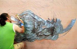 Nail portrait of Leonardo Davinci