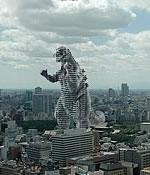 Godzilla-shaped building in Tokyo