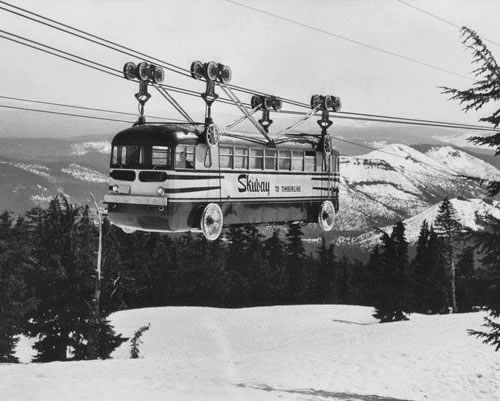 Bus converted into a ski gondola