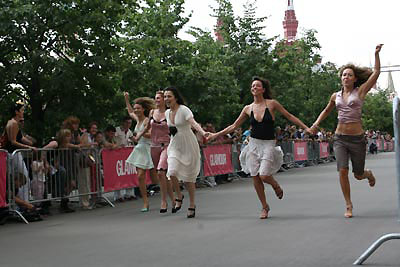 Women running on high-heels