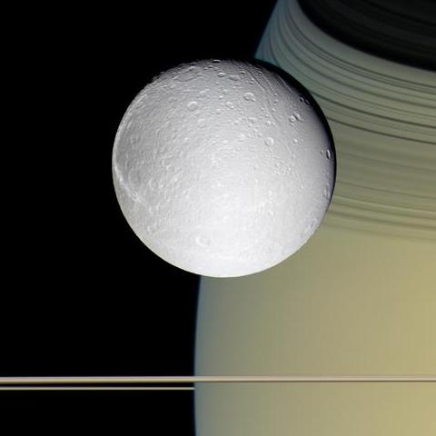 Dione - moon of Saturn taken by Cassini