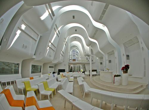 The interior of a space ship? No that's just a Japanese church.