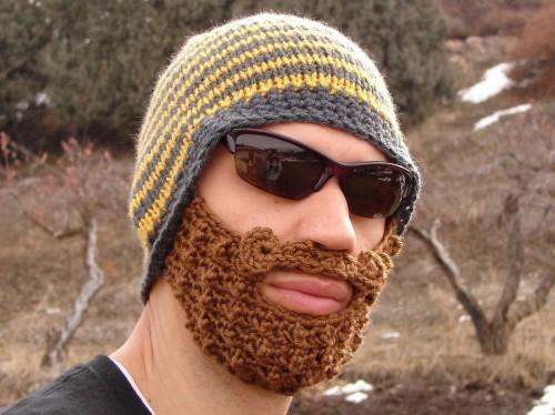 Crocheted Beanie with Beard - Neatorama