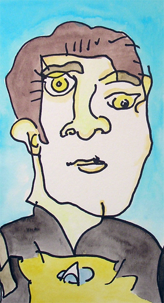 cartoons of star trek characters made without looking at the paper