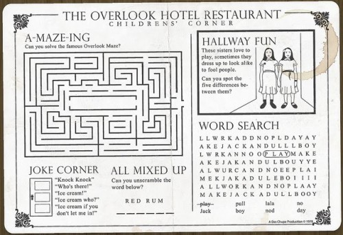 the overlook hotel kids placemat neatorama