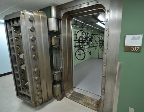 ... Building in Portland, Oregon, has perhaps the most formidable-looking  bicycle storage facility in the world. It consists of repurposed bank vaults : - For The Ultimate Solution To Bicycle Theft, Use An Old Bank Vault